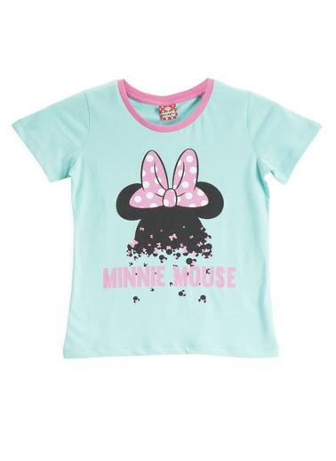 Minnie Mouse  Lisanslı Fuşya Kız Çocuk T-Shirt Yeşil